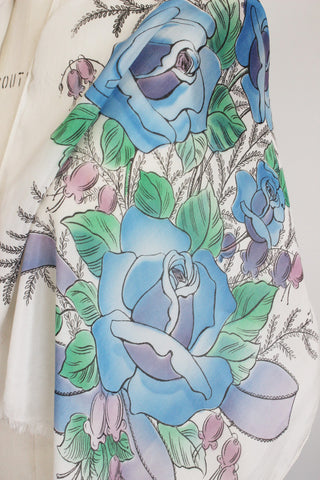 Vintage 1950s Scarf With Blue Roses