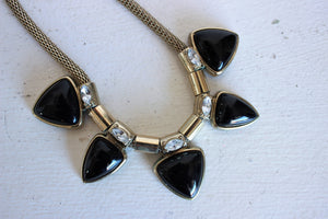 Vintage 1990s Black Glass, Rhinestones, and Snake Chain Necklace