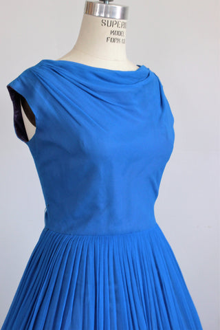 Vintage 1950s New Look Party Dress Blue Chiffon / Elinor Gay