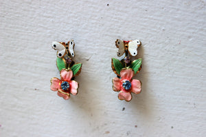 Vintage 1950s Austrian Crystal Butterfly and Flower Earrings