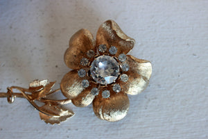 Vintage 1960s Coro Signed Gold Rose With Rhinestone Center Brooch