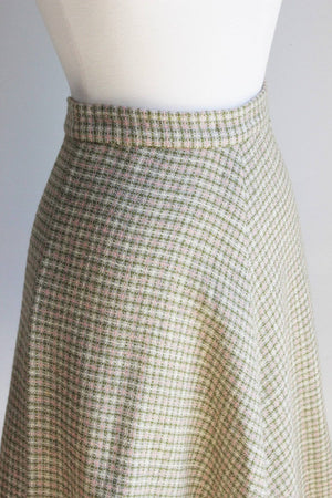 Vintage 1950s Tweed Plaid Skirt