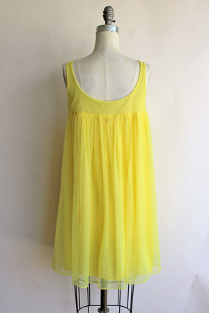 Vintage 1960s Bright Yellow Nylon Nightgown