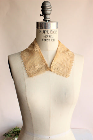 Antique 1920s Lace Collar in Honey Beige