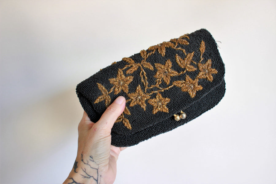 Vintage 1950s Beaded Clutch Bag With Golden Flowers