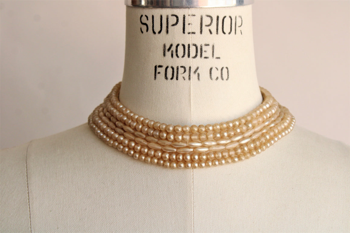 Vintage 1940s 1950s Faux Pearl Detachable Collar