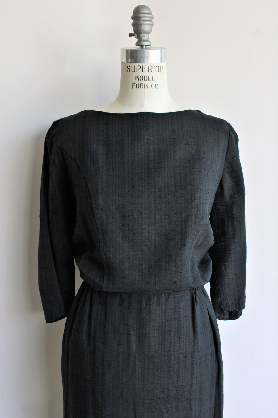 Vintage 1960s Black Sheath Dress with Button Back