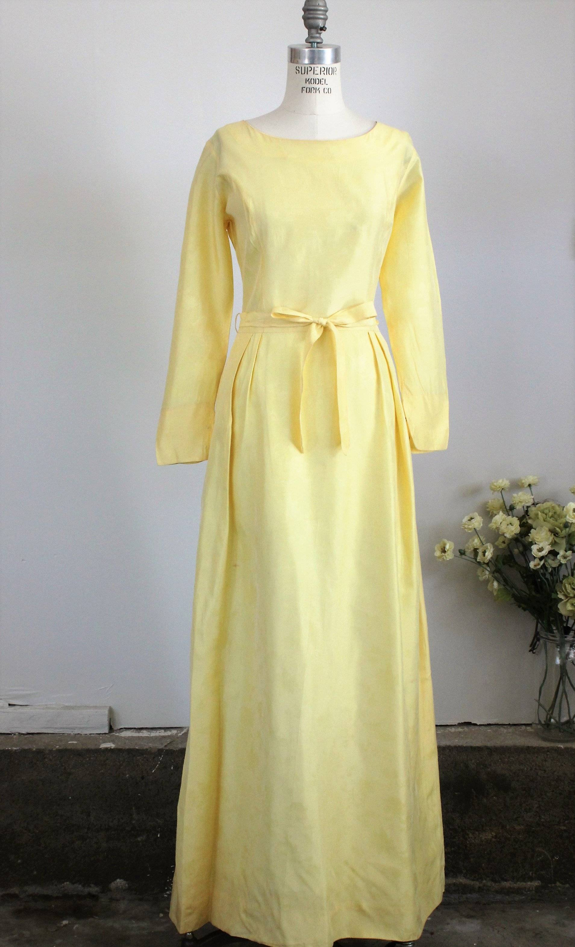 Vintage 1960s Yellow Maxi Dress, Bridesmaid, Party or Prom
