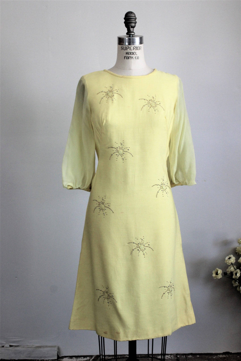 CLEARANCE: Vintage 1960s Yellow Mod Sheath Dress With Chiffon Sleeve and Starburst Beads