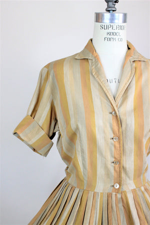 Vintage 1950s Shirtwaist Day Dress In Vertical Stripes