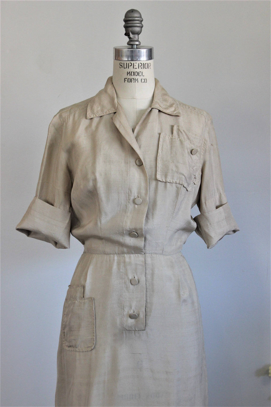 Vintage 1950s Khaki Silk Shirtwaist Dress, Alexanders of California Dress