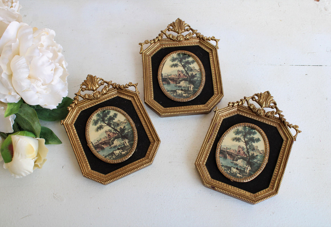 Vintage 1960s Ornate Frames with Velvet Mattes