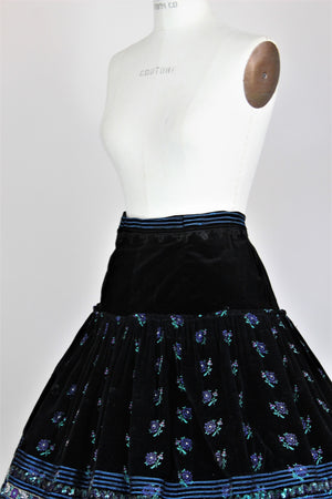 Vintage 1950s Black Velvet Full Skirt With Purple Flower Embroidery and Sequin Trim