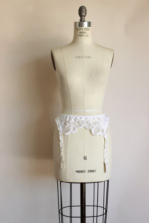 Vintage 1990s White Satin Garter Belt