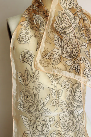 Vintage 1960s 1970s Sheer Floral Scarf, Made in Japan