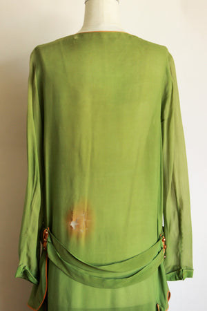 Vintage 1920's Green Silk Chifon Dress