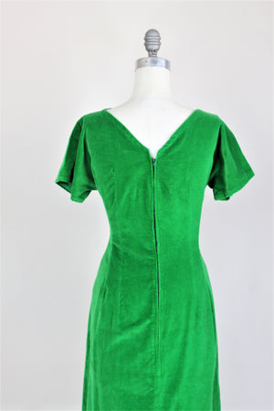 Vintage 1950s Green Cotton Velvet Wiggle Dress
