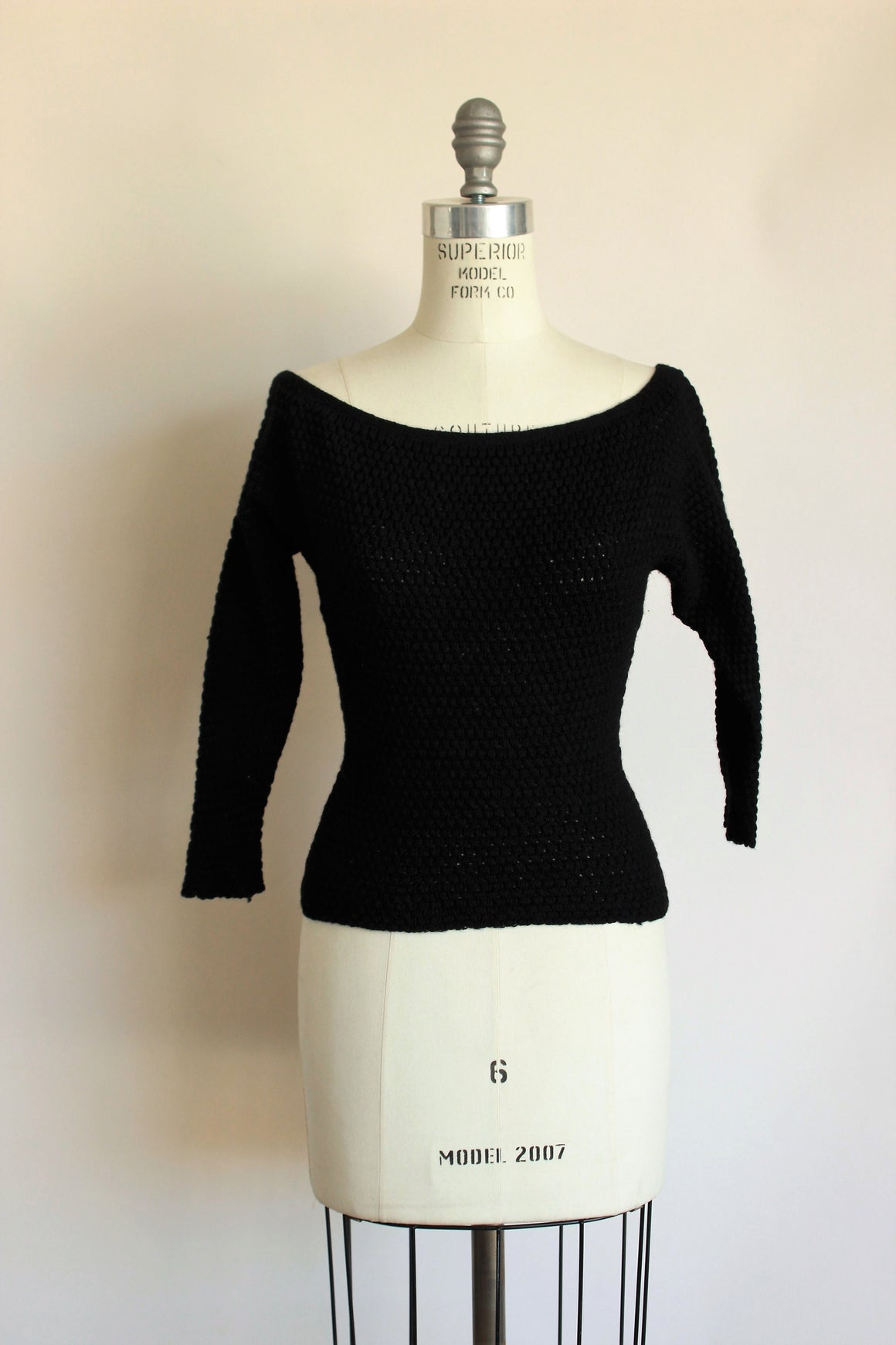 Vintage 1950s Black Wool Fitted Sweater, by Goldworm