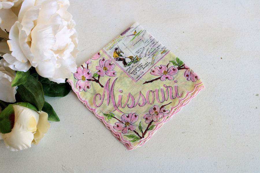 Vintage Souvenir Missouri Handkerchief in Pink and Yellow
