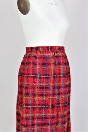 Vintage 1970s 1980s Weathervane Plaid Wool Winter Skirt