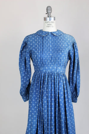 Victorian Late 1800s Blue Paisley Calico Cotton Dress