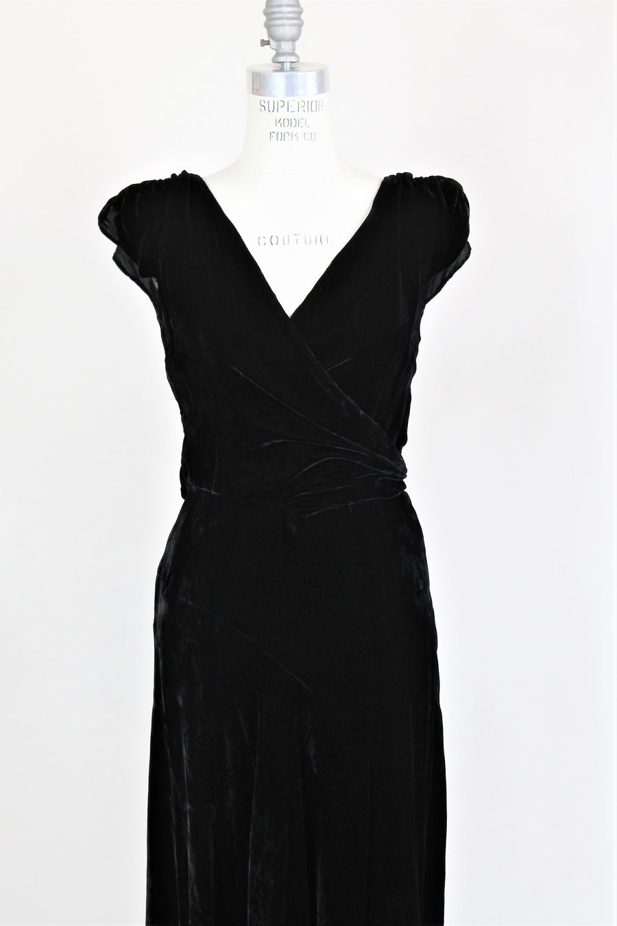 Vintage 1930s Black Silk Velvet Dress From Jays Boston