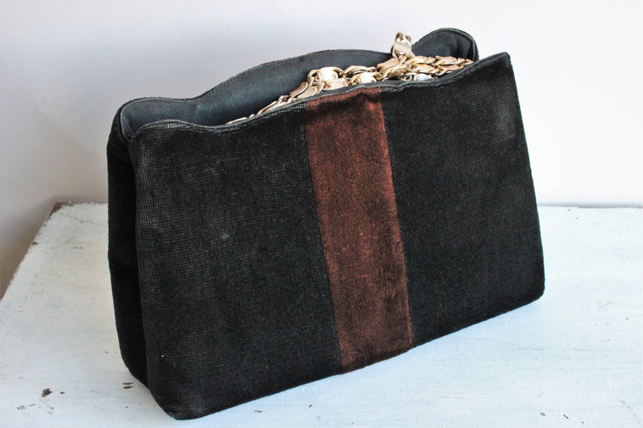 Vintage 1970s Black and Brown Velvet Handbag