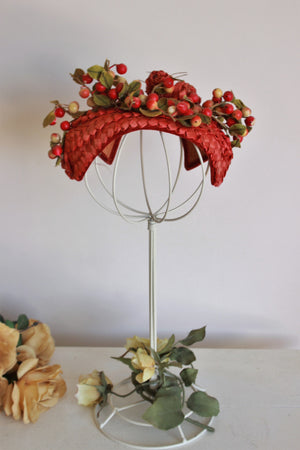 Vintage 1940s Curvette Hat in Red Straw with Berries and Flowers