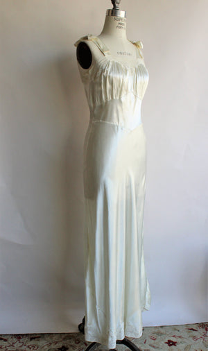 Vintage 1930s Ivory Satin Nightgown by Maison Berten