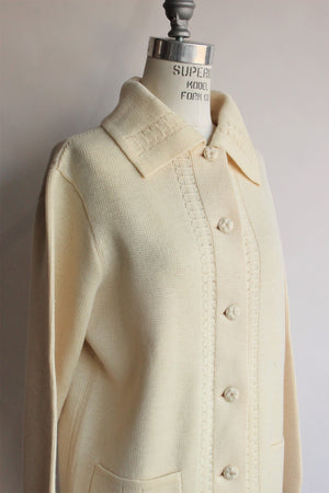 Vintage 1960s Yellow Wool Cardigan Sweater With Pockets