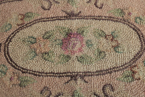 Vintage Wool Aubusson Rug in Pinks and Greens