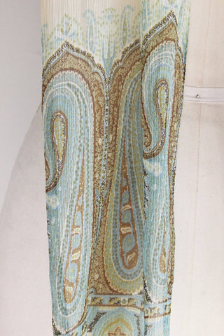 Vintage Echo 1960s Long Scarf, Ivory Chiffon Green Blue And Brown Paisley