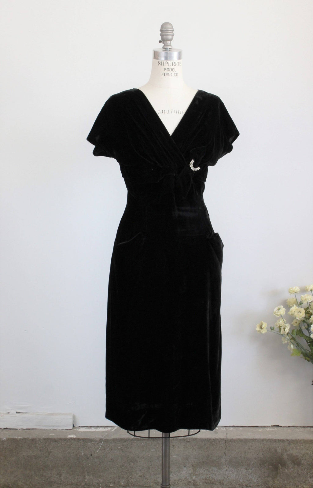 Vintage 1940s Black Velvet Wiggle Dress by Forever Young By Puritan