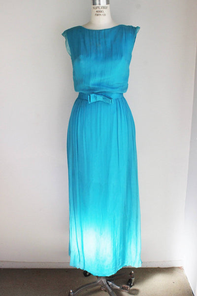 CLEARANCE: Vintage 1960s Blue Maxi Dress