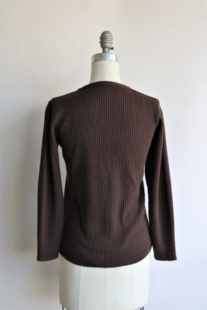 Vintage 1990s Brown Ribbed Sweater