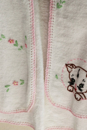 Vintage 1950s Baby Bed Jacket With Kitten Embroidery