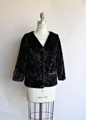 Vintage 1960s Black Faux Fur Short Jacket