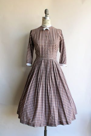 Vintage 1950s Brown Check Fit and Flare Dress by Dress Town