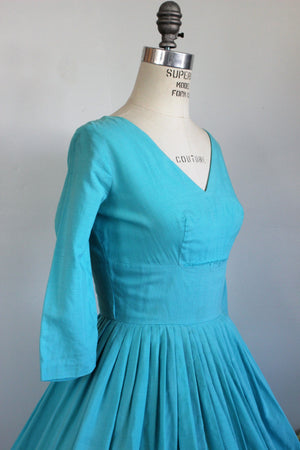 Vintage 1950s New Look Dress in Teal Blue