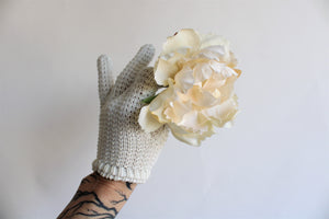 Vintage Ivory Knit or Crochet Cotton Gloves