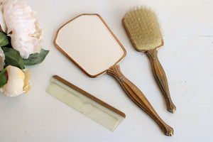 Vintage 1950s Vanity Set of Mirror, Brush and Comb