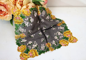 Vintage Gray with Yellow Flower Print Vintage Hanky