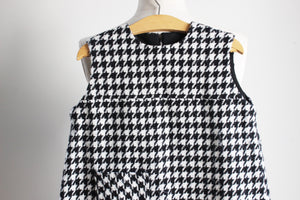 Vintage 1960s Toddler Girls Mod Dress, Houndstooth Check In Black And White