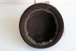 Vintage 1950s Bonwit Teller Brown Hat with Veil