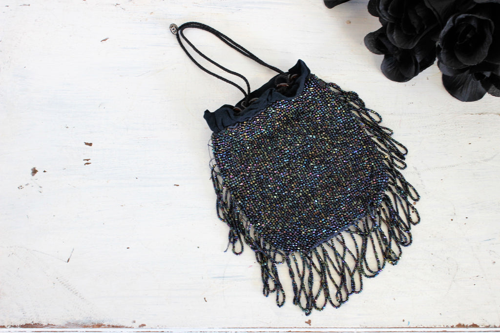 Vintage 1920s 1930s Blue Beaded Purse