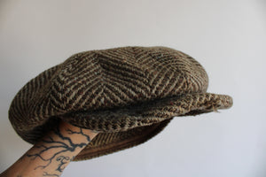 Vintage 1940s Tweed Pageboy Cap Hat