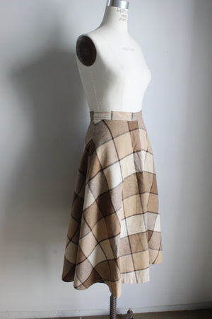 Vintage 1970s Brown Check Skirt