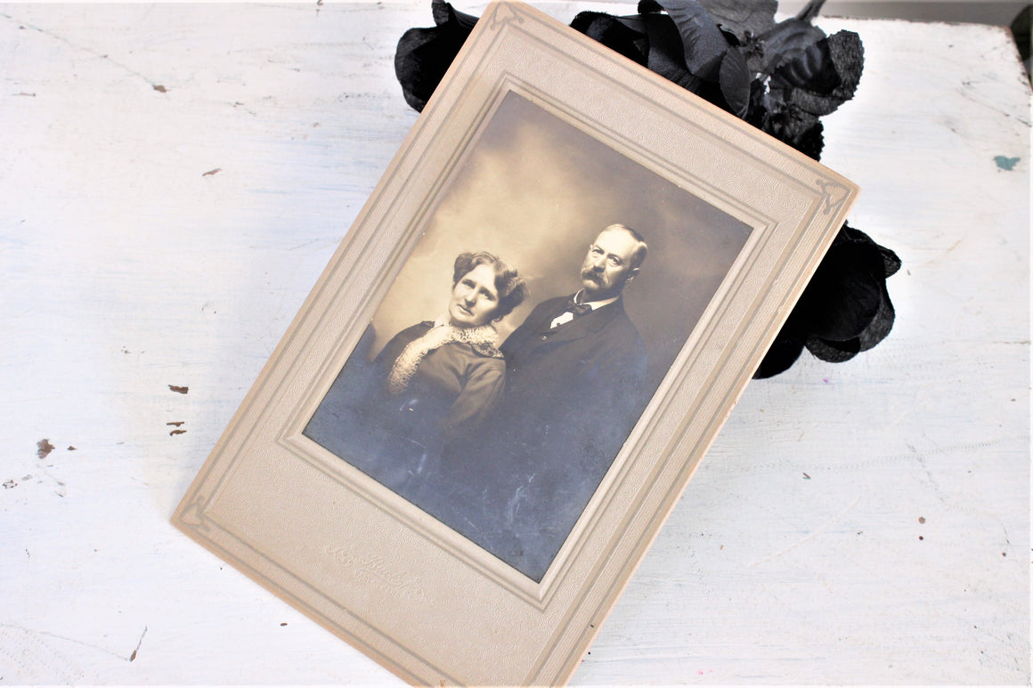 Vintage 1910s Edwardian Victorian Photograph of a Man And Woman