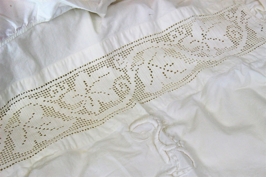 Vintage Edwardian 1910s Monogrammed Pillow Case