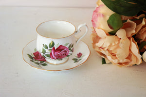 Vintage Royal Albert China Tea Cup and Saucer with Pink Roses